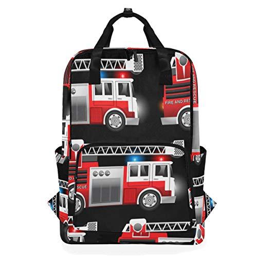 NR Lässiger Laptop Rucksack passt 15 Zoll Computer Notebook Rucksack große College-Schultaschen,Rettungswagen des roten Feuers 3D,Reisen/Business/Frauen/Jungen