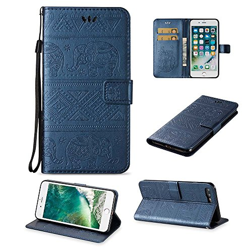 Custodia iPhone 8 Plus[Protezione Libera dello Schermo], ESSTORE-EU Premium Portafoglio Protettiva Cover Custodia, Retrò Elefante Flip Wallet Case Custodia in Pelle per Apple iPhone 8 Plus (2017) Con  Blu