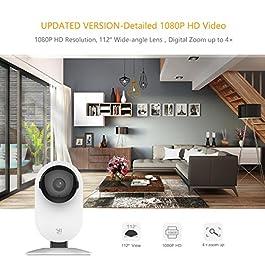 YI Home Camera 1080p IP Camera WiFi,Telecamera Interno di Sorveglianza con Rilevamento di Movimento,Notifiche Push,Audio Bidirezionale,Visione Notturna,Smart Videocamera per Telefono/PC,Kit da 2