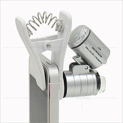 RICISUNG Mini Mikroskop 60x LED Taschenmikroskop Juwelier Vergroesserungsglas Einstellbare Lupe