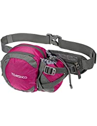 Rose: TOMSHOO Water-resistant Waist Bag Pack With Water Bottle Holder For Hiking Running Cycling Camping Climbing...