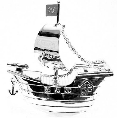 The Emporium Christening Gifts - Cadeaux de Baptême - Tirelire en Métal Argnté - Bateau de Pirate - 13 x 13cm [produit bébé]