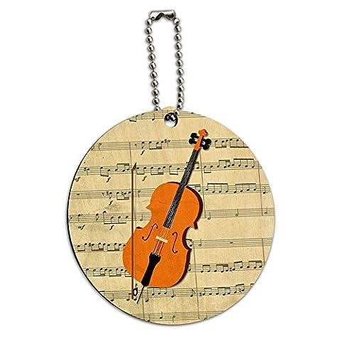 Pour Violoncelle Feuille Notes de Musique clé de sol Ronde en Bois Carte étiquette d'identification Bagage