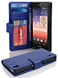 Cadorabo Hülle für Huawei P7 - Hülle in NEPTUN BLAU – Handyhülle mit 3 Kartenfächern - Case Cover Schutzhülle Etui Tasche Book Klapp Style