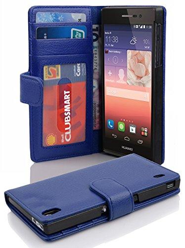 Cadorabo Hülle für Huawei P7 Hülle in Neptun blau Handyhülle mit 3 Kartenfächern Case Cover Schutzhülle Etui Tasche Book Klapp Style Neptun-Blau