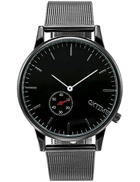 JSDDE Einfaches Armbanduhr Wasserdicht Schöne Zeitloses Design Unisex Uhr Mesh Metallarmband Quarz Uhr Schwarz
