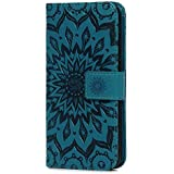 Huawei P Smart Case, Premium PU Leather Flip Notebook Wallet Case Sunflower Embossed with Kickstand Credit Card Slot Holder TPU Bumper Folio Protective Cover for Huawei P Smart/Enjoy 7S Blue