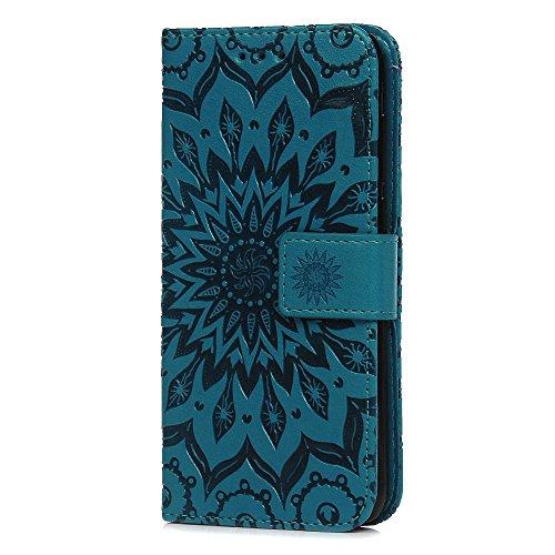 Schutzhülle für Huawei P Smart-Handy, hochwertige Notebook-Klapphülle aus PU-Leder, geprägt mit Sonnenblumen-Motiven, Standfunktion, Kartensteckplatz für Kreditkarte; Folio-Schutzhülle mit TPU-Stoßschutz für Huawei P Smart/Enjoy 7S