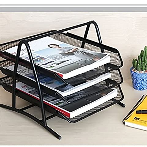 PIXNOR 3Tiers Wire Mesh Office A4 Document Letter Paper Storage Filing Trays Holder Black