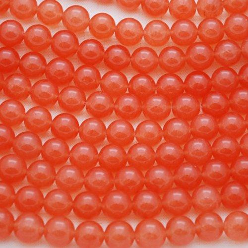 De haute qualité Abricot/orange Jade (teints) Pierre précieuse de pierres semi-précieuses Perles rondes–40,6cm Strand, Orange, 8mm (47 - 50beads)