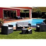 SALOTTO da giardino in RESINA ANTRACITE Mod. COLORADO Set 4 pz con cuscini