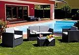SALOTTO da giardino in RESINA ANTRACITE Mod. COLORADO Set 4 pz con cuscini immagine