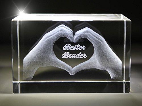 VIP-LASER 3D Glas Kristall mit Gravur I Herz aus zwei Händen I Text: Bester Bruder! I Das tolle Geschenk zum Geburtstag, Weihnachten oder einfach nur so!