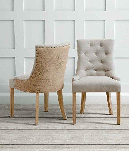 MY-Furniture TORINO sedia da pranzo Rustica tappezzata di alta qualità con schienale leggermente concavo e gambe in legno naturale.