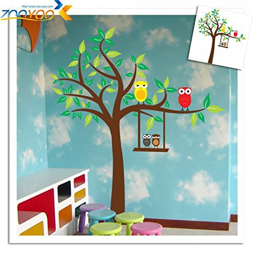 QIFDSVD Wandaufkleber Xl Size Owl Scroll Tree Removable Wall Sticker Home Decor/Kids Nursery Cartoon Mural Sticker Wall Decal -
