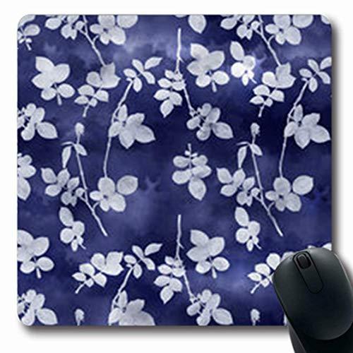 Gsgdae Mousepads Schwamm, Indigoblätter, Shibori-Design, Marineblau, Aquarell, Shibori-Design, naturblau, Batik, länglich, 20,1 x 24,1 cm, rechteckig, Anti-Rutsch-Mauspad Shibori Designs