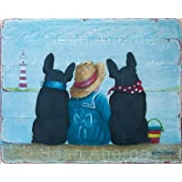 by Sean Aherne Art French Bulldogs with Little Girl on Beach Shabby Chic Wooden Sign Plaque Picture
