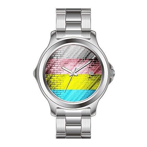 FDC regalo di natale orologi moda donna al quarzo giapponese Data in acciaio inox orologio da polso bracciale orologio motivo blu, rosa e giallo a righe per piastrelle Astratto