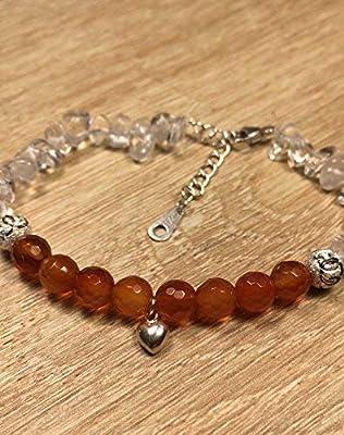 bracelet GROSSESSE FERTILITE pierre naturelle semi-précieuse CORNALINE et Cristal de Roche et Argent 925