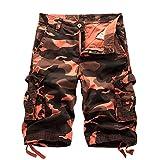 Vertvie Herren Vintage Cargo Hose Bermuda Shorts Kurze Hose Strandhose Knielang Ohne Gürtel (EU 48/Etikettengröße 32, Camouflage Rot)