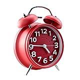 Jinberry 4' Retro Reloj Despertador Silenciosos de Doble Campana / Mate Vintage Mesa Alarma de Metal con Luz - Roja