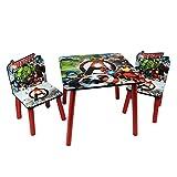 Juego de mesa y sillas de madera temática para niños Avengers