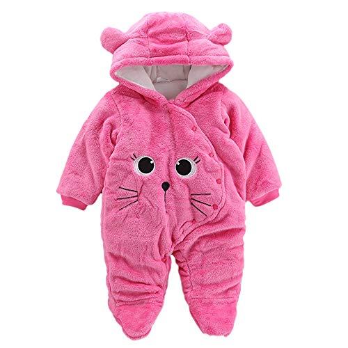 sunnymi 0-24 Monate Baby Bär SAMT Hoodie Weihnachten Overall Winter Kleidung Set (6 Monate, Pink Kat)