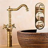 Hlluya Wasserhahn für Waschbecken Küche Das Becken aus Bronze und Kaltes Wasser 1 Loch Waschtisch Armatur Spüle Wasserhahn,