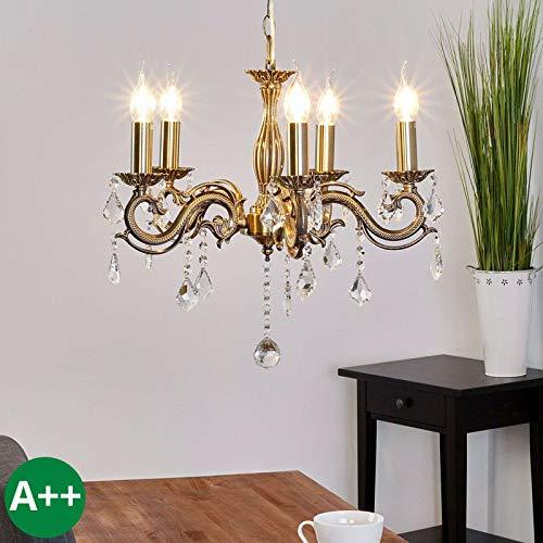 Retro-bronze-kronleuchter (Lampenwelt Kronleuchter 'Kora' dimmbar (Retro, Vintage, Antik) in Bronze aus Metall u.a. für Wohnzimmer & Esszimmer (5 flammig, E14, A++) - Pendelleuchte, Hängelampe, Lüster, Lampe, Deckenleuchte)