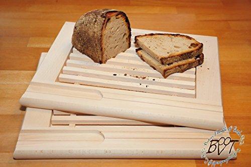 2x Brot-Schneidebrett 2 Stück Buche, Frühstücksbrett, Schneidbrett Picknick-Holz groß, massive Holz-Picknick-Set / Picknicksets, hochwertiges ca. 24 mm starkes Picknick-Holzbrett rund - oval / abgerundete Kanten, Holzbrettchen groß rund, klassisch mit Krümelfach + Krümelgitter / Gitter, mit herausnehmbarem Schneiderost natur, Maße viereckig je ca. 36 cm x 29 cm als Bruschetta-Servierbrett, Brotzeitbrett, Bayerisches Brotzeitbrettl, NEU MASSIVE Picknick-Set Schneidebretter
