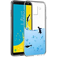 Eouine Funda Samsung Galaxy J6 2018, Cárcasa Silicona 3D Transparente con Dibujos Diseño Suave Gel TPU [Antigolpes] de Protector Fundas para Movil Samsung J6 2018-5,6 Pulgadas (Pingüinos)