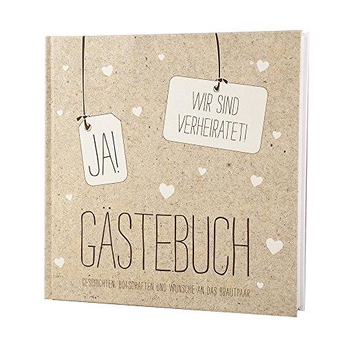 Gästebuch Hochzeit Vintage, Ja! Wir sind verheiratet - Kraftpapier Hochzeitsgästebuch mit Herzen, 21 x 21 cm, 144 weiße Seiten