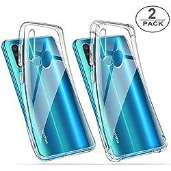 ivencase 2 x Coque Huawei P30 Lite Transparente, Souple Silicone Étui Protection avec Coin Renforcé Bumper Housse Clair Doux TPU Gel Cover pour Huawei P30 Lite