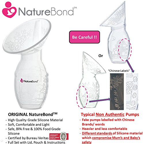 NatureBond Silicone Manual Breast Pump Breastfeeding Milk Saver Suction | All-In-1 Lid & Carry Pouch In Gift Box Style. BPA Free & 100% Food Grade Silicone