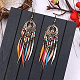 Kissherely Boucles d'oreilles de plumes de Bohême exquises perles ethniques colorées boucles d'oreilles à long goutte fantaisie (or)...