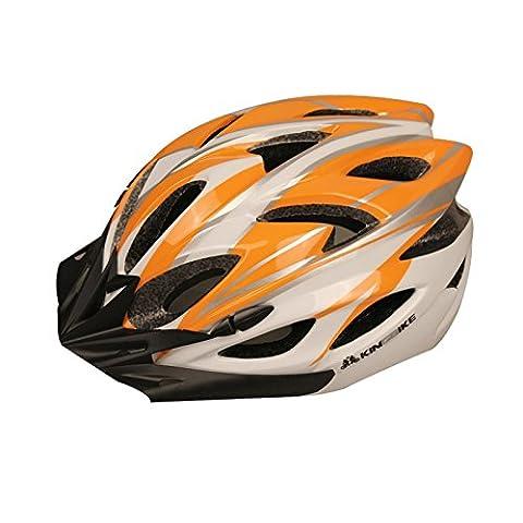 Casque de vélo de qualité supérieure de qualité Airflow spécialisé pour le vélo de route et de montagne - casques de vélo certifiés de sécurité pour les hommes et les femmes adultes, garçons et filles ados - confortable, léger, respirant-amovible lentille ( Color : Orange white )