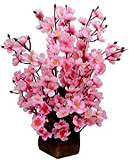 Sofix Artificial Pink Flower Pot For Home Decor 14 Sticks 40Cm (Pink)