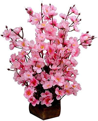 Sofix Artificial Pink Flower Pot For Home Decor 14 Sticks 40Cm (Pink)