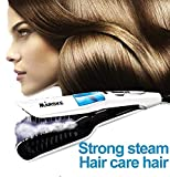 Di Grazia White Ceramic Steam Hair Straightener, Ionic Steam Spay Professional Straightening Detangling