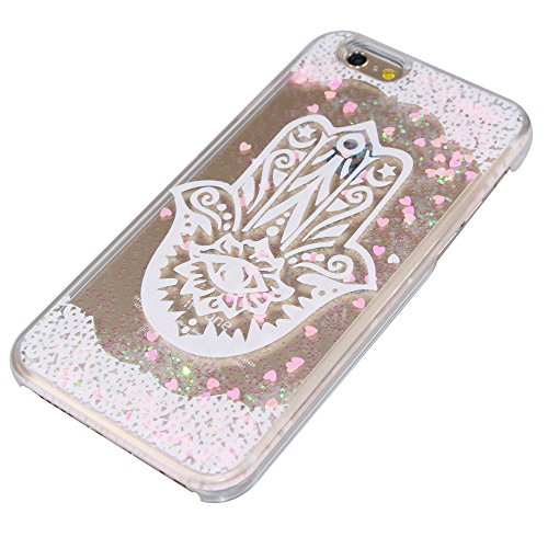 iPhone 5C Hülle,iPhone 5C Case,iPhone 5C Cove,3D Kreativ Muster Transparent Hard Case Cover Hülle Etui für iPhone 5C,EMAXELERS Cute Tier Cat Kaninchen Serie Bling Luxus Shiny Glitzer Treibsand Liquid  Heart Series 16