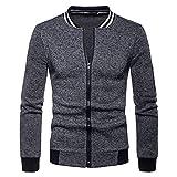 Aiserkly Herren Strickjacke mit Stehkragen Und Reißverschluss Bequeme legere Passform Freizeitjacke Cardigan Sweatjacke Pullover Sweatshirt Coat Dunkelgrau XL