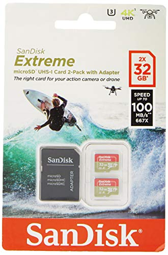 SanDisk Extreme 32GB microSDhC Memory Card for Action Cameras & Drones with A1 App Performance up to...