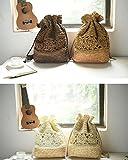 Doitsa 1pcs Handgemachte gehäkelte Schultertasche Stroh Tasche Gesponnene Tasche beiläufige Handtasche 29 * 10 * 39 cm (Braun)