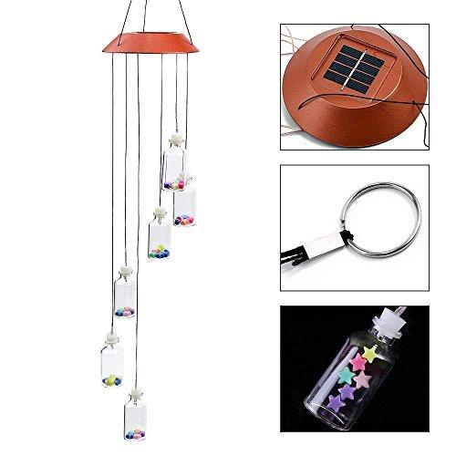Locisne Farbwechsel Solar LED Mobile Windspiele, 6 Wunsch Flaschen automatische Lichter Sensor Hängeleuchte Dekor für Garten, Haus, Party, Balkon, Veranda, Terrasse, Festival Geschenk