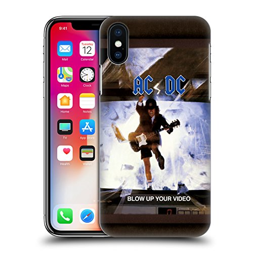 Ufficiale AC/DC ACDC Back In Black Copertina Album Cover Retro Rigida per Apple iPhone X Blow Up Your Video