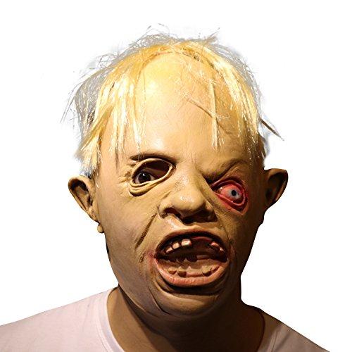 Masken Cyclops (Cyclop one eye Zombie Zyklop ein Auge Zombie mit Haaren Maske mask Kopf aus sehr hochwertigen Latex Material mit Öffnungen an Augen Halloween Karneval Fasching Kostüm Verkleidung für Erwachsene Männer)