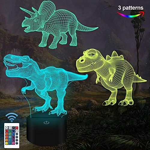Dinosaurier-Spielzeug, 3D-Nachtlicht für Kinder (3 Muster) mit Fernbedienung und 16 Farbwechsel- und dimmbaren Funktionen, Weihnachtsgeburtstagsgeschenke für Jungen Mädchen Mann Kind