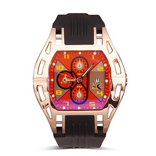 Yaki Herrenuhr Sportuhren Quarz Armbanduhr Modeuhren Herren Datumsanzeige mit Schwarz Silikon Armband