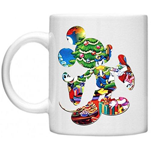 Disney Figuren, Donald Duck weihnachtlicher Szene, Mickey Mouse Outline Shaggy Langflor Hochflor Teppich Funny Becher mit Aufdruck auf mikrowellengeeignet & spülmaschinenfest 11oz Becher/Tasse