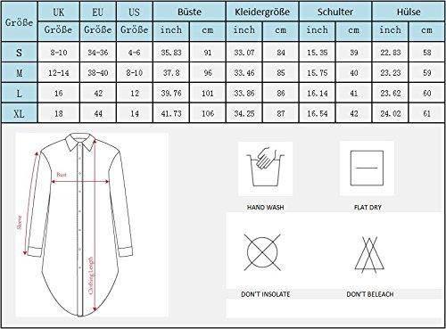 Damen Tunika Bluse Langarm Top V-Ausschnitt Asymmetrisch Longshirt Casual Lose Hemdkleid Schwarz